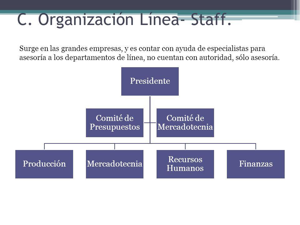 Presidente ProducciónMercadotecnia Recursos Humanos Finanzas Comité de Presupuestos Comité de Mercadotecnia C.