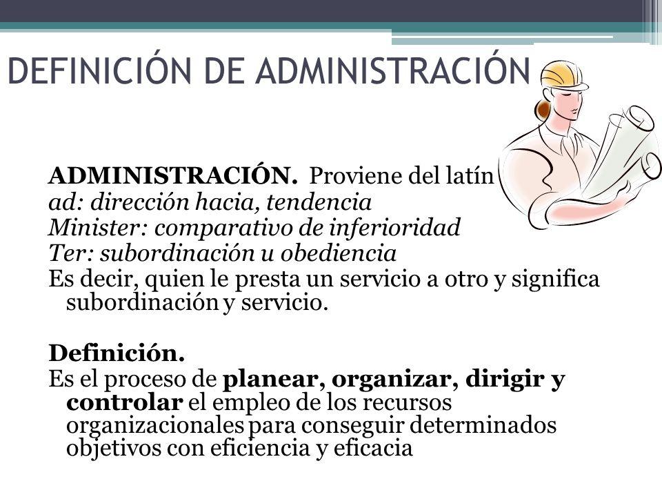 DEFINICIÓN DE ADMINISTRACIÓN ADMINISTRACIÓN.