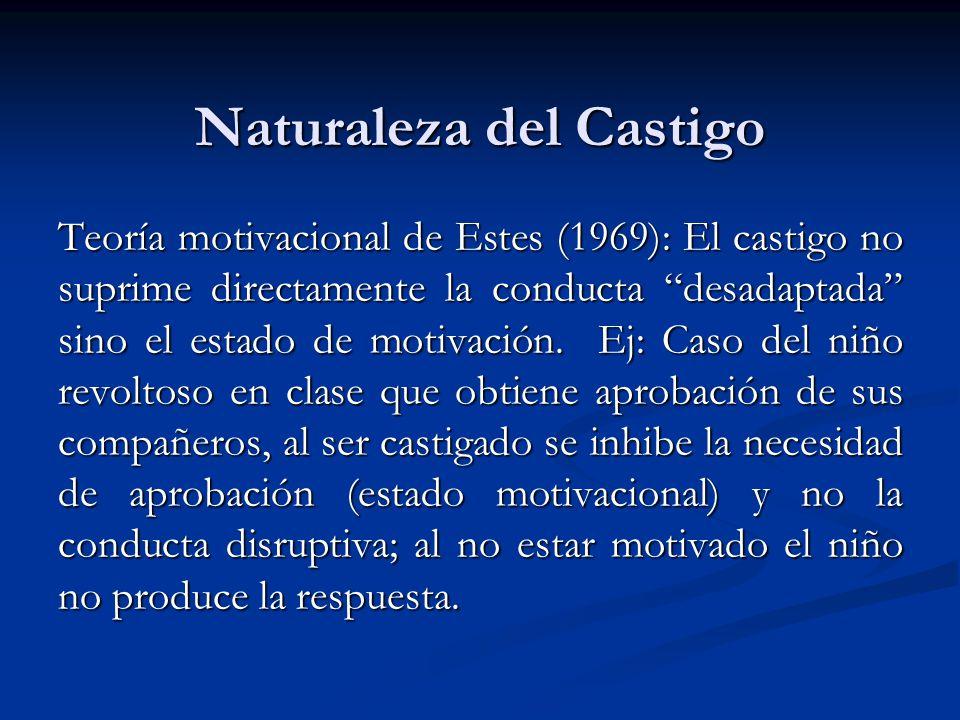 Naturaleza del Castigo Teoría motivacional de Estes (1969): El castigo no suprime directamente la conducta desadaptada sino el estado de motivación. E
