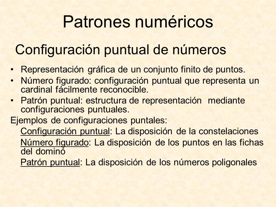 Configuración puntual de números Representación gráfica de un conjunto finito de puntos. Número figurado: configuración puntual que representa un card