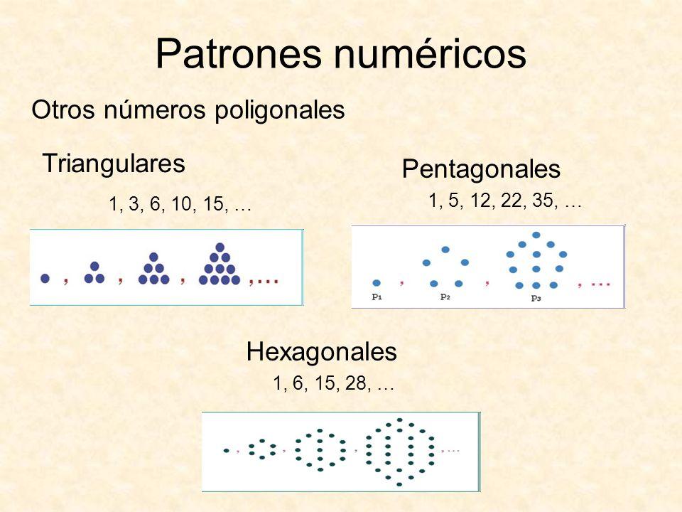 Otros números poligonales Patrones numéricos Pentagonales 1, 5, 12, 22, 35, … Hexagonales 1, 6, 15, 28, … Triangulares 1, 3, 6, 10, 15, …