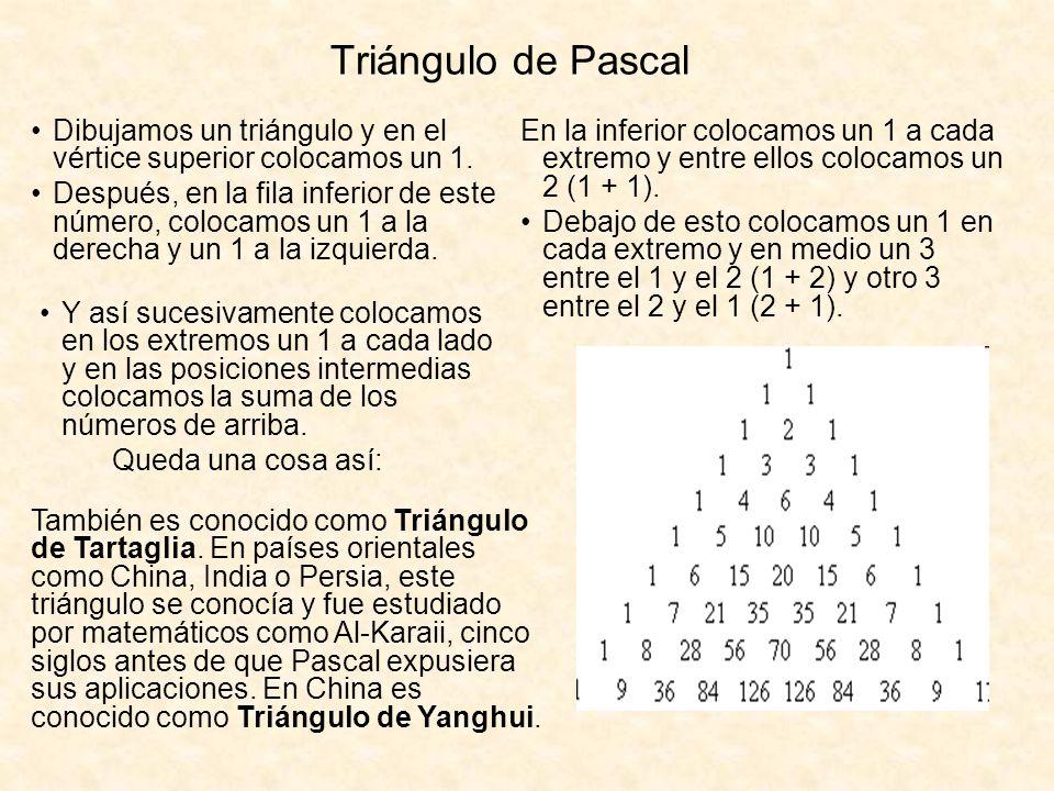 Triángulo de Pascal Dibujamos un triángulo y en el vértice superior colocamos un 1. Después, en la fila inferior de este número, colocamos un 1 a la d