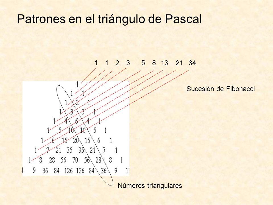 Patrones en el triángulo de Pascal Números triangulares Sucesión de Fibonacci 112358132134