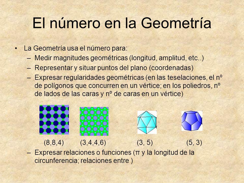 El número en la Geometría La Geometría usa el número para: –Medir magnitudes geométricas (longitud, amplitud, etc..) –Representar y situar puntos del
