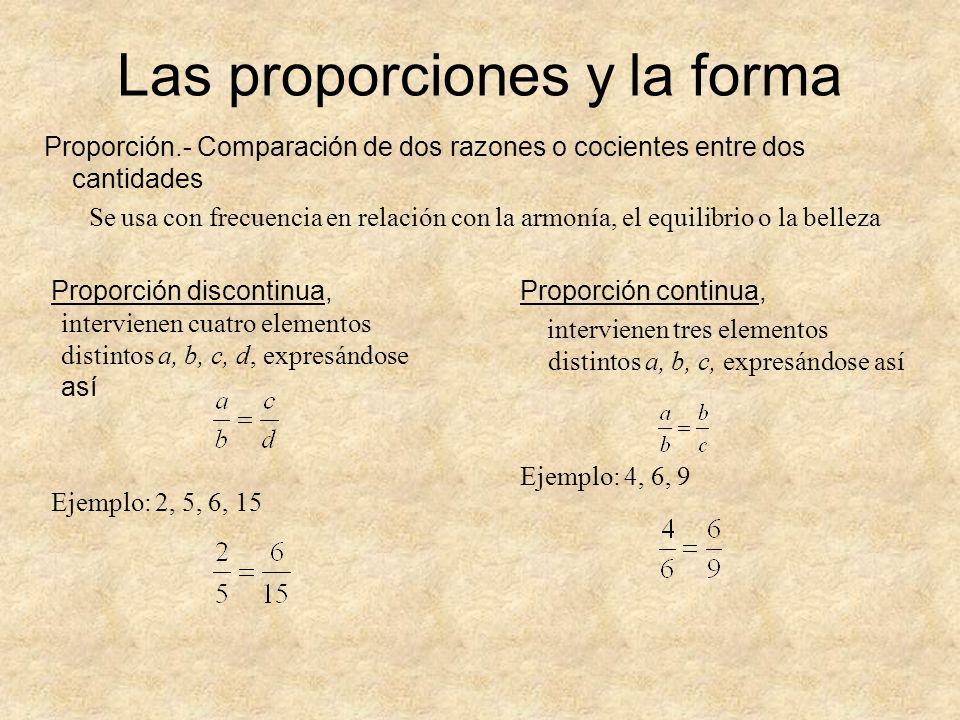 Las proporciones y la forma Proporción.- Comparación de dos razones o cocientes entre dos cantidades Se usa con frecuencia en relación con la armonía,