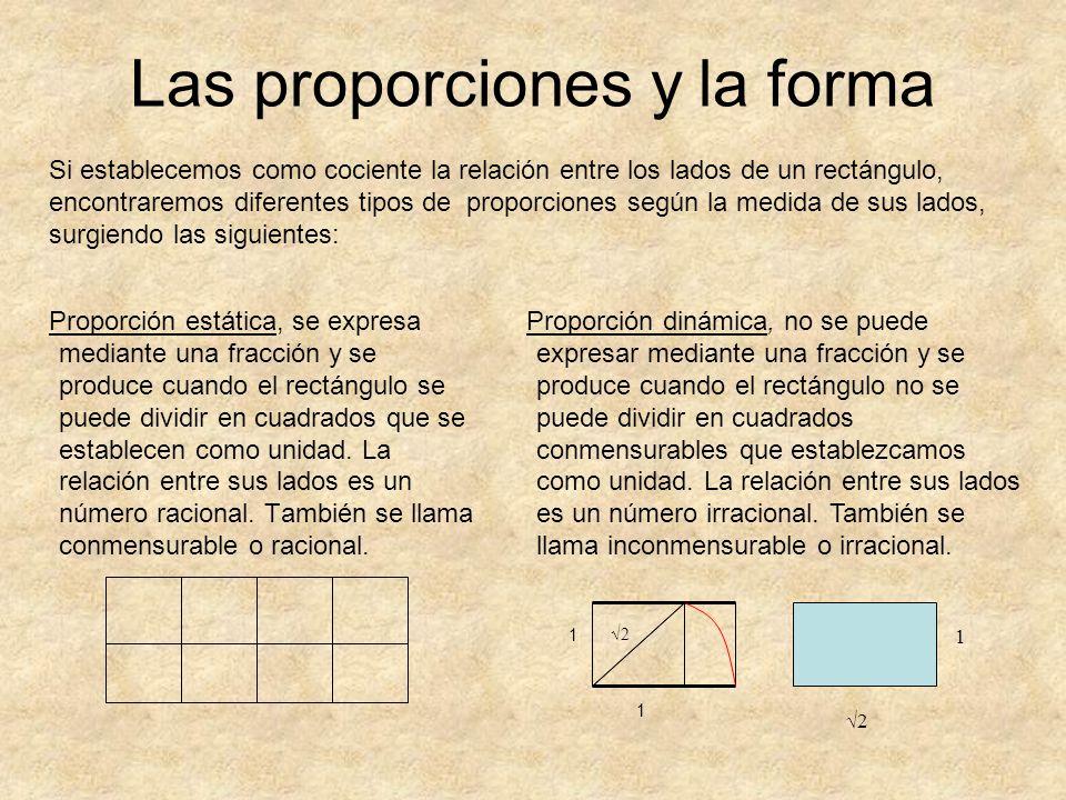 Si establecemos como cociente la relación entre los lados de un rectángulo, encontraremos diferentes tipos de proporciones según la medida de sus lado