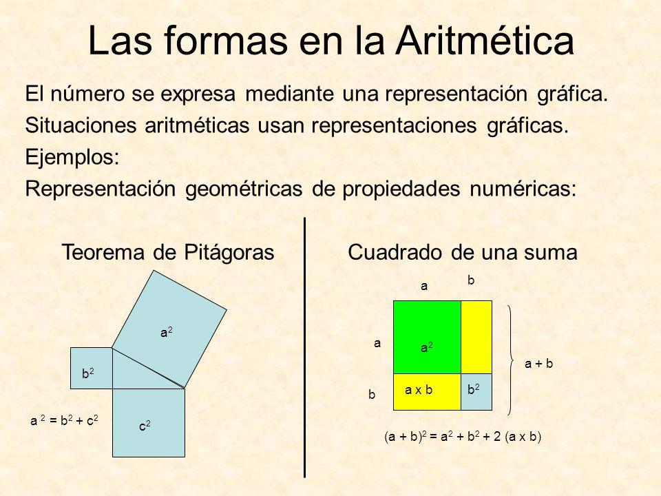 El número se expresa mediante una representación gráfica. Situaciones aritméticas usan representaciones gráficas. Ejemplos: Representación geométricas