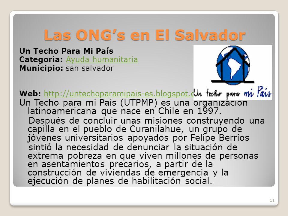 Tipos de ONG Una clasificación usada para los tipos de ONG, puede ser: Organizaciones voluntarias Agencias y organismos de servicios no lucrativos Org