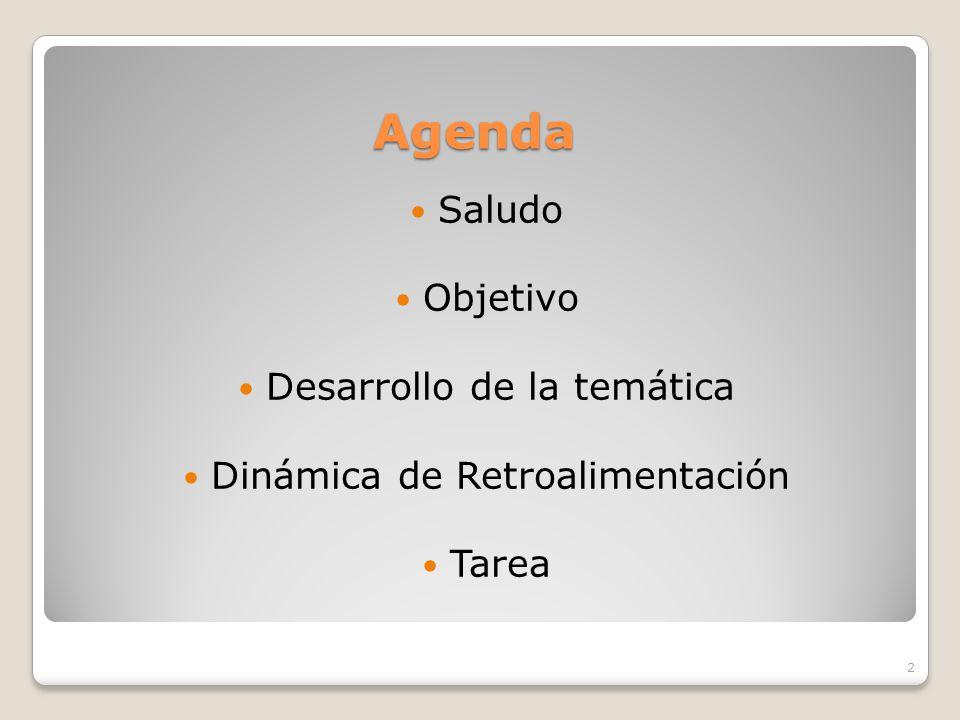 Agenda Saludo Objetivo Desarrollo de la temática Dinámica de Retroalimentación Tarea 2