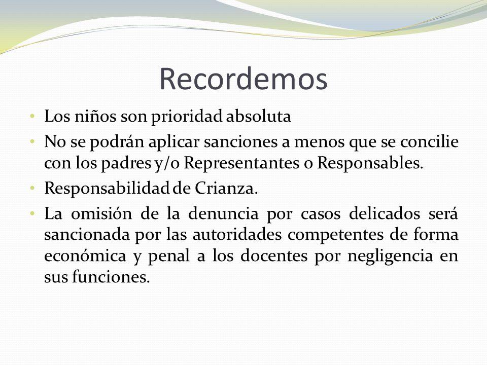 Recordemos Los niños son prioridad absoluta No se podrán aplicar sanciones a menos que se concilie con los padres y/o Representantes o Responsables. R