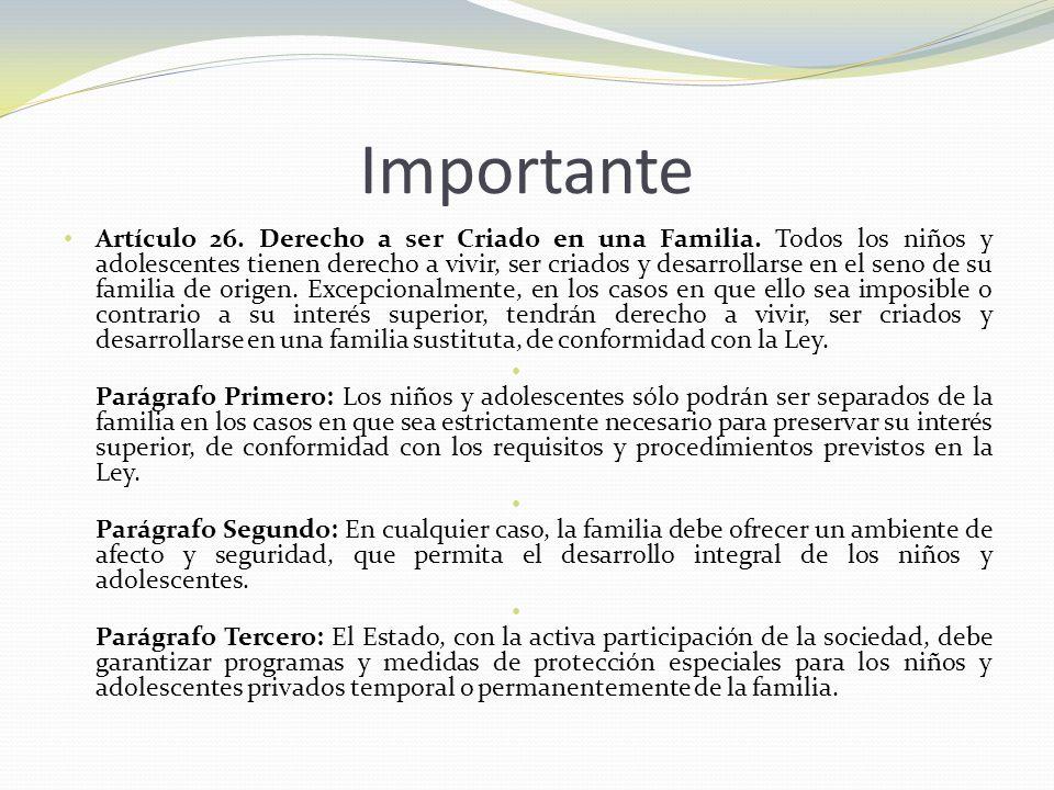 Importante Artículo 26. Derecho a ser Criado en una Familia. Todos los niños y adolescentes tienen derecho a vivir, ser criados y desarrollarse en el