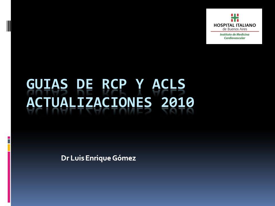 Algoritmo de RCP 2010 No responde No respira o jadea Activar el sistema de emergencias y obtener el DEA Iniciar RCP.