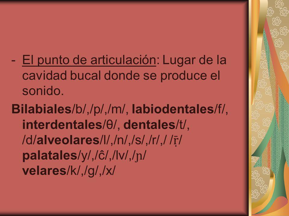 -El punto de articulación: Lugar de la cavidad bucal donde se produce el sonido. Bilabiales/b/,/p/,/m/, labiodentales/f/, interdentales/θ/, dentales/t
