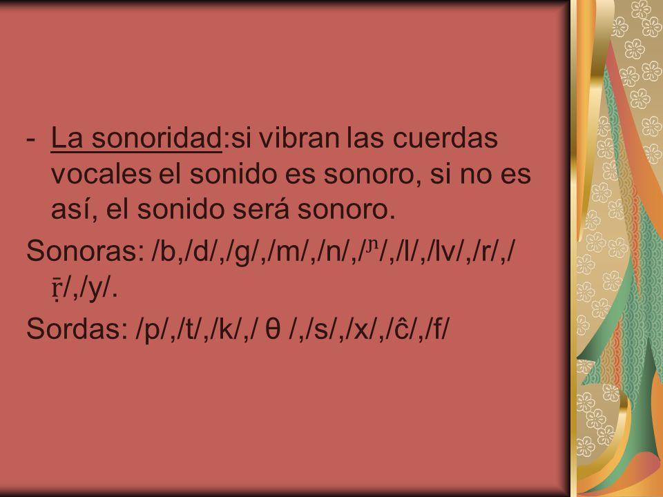 -La sonoridad:si vibran las cuerdas vocales el sonido es sonoro, si no es así, el sonido será sonoro. Sonoras: /b,/d/,/g/,/m/,/n/,//,/l/,/lv/,/r/,/ /,