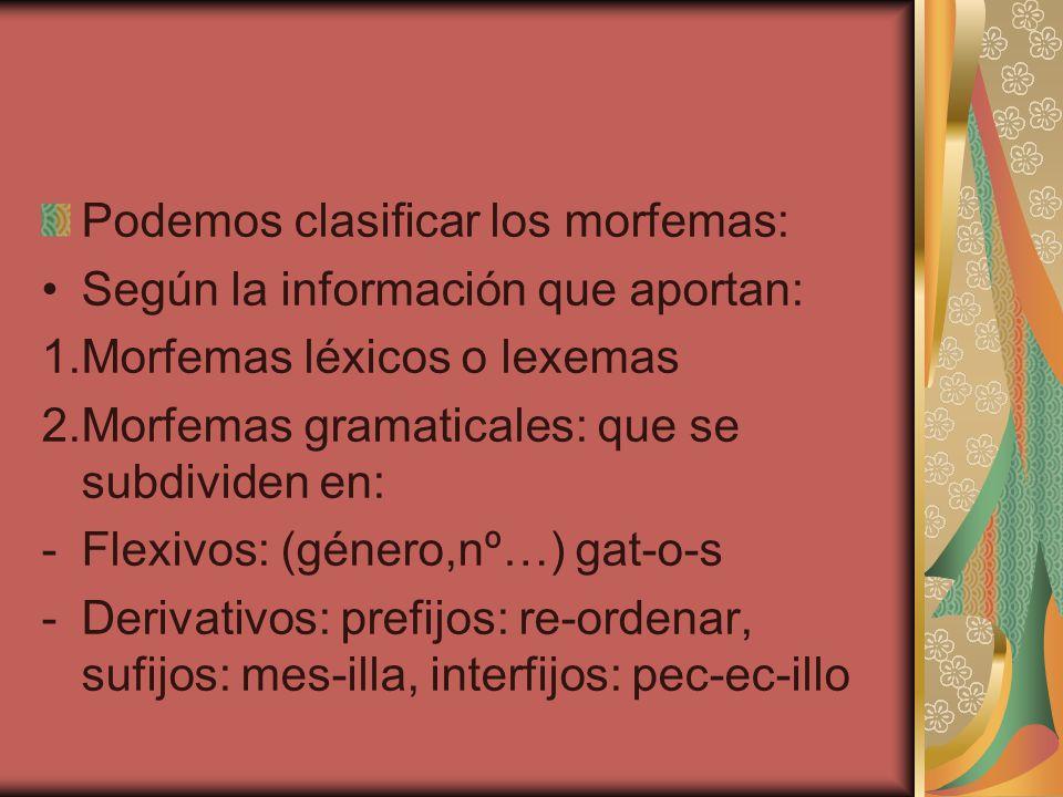 Podemos clasificar los morfemas: Según la información que aportan: 1.Morfemas léxicos o lexemas 2.Morfemas gramaticales: que se subdividen en: -Flexiv