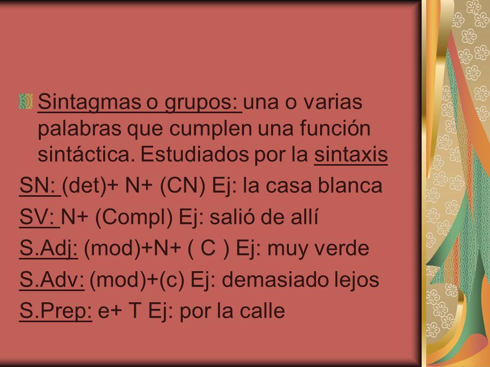 Sintagmas o grupos: una o varias palabras que cumplen una función sintáctica. Estudiados por la sintaxis SN: (det)+ N+ (CN) Ej: la casa blanca SV: N+