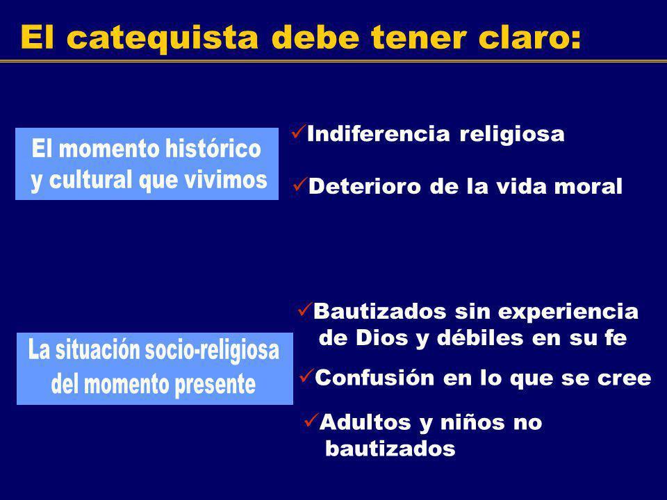 El catequista debe tener claro: Indiferencia religiosa Deterioro de la vida moral Bautizados sin experiencia de Dios y débiles en su fe Confusión en l