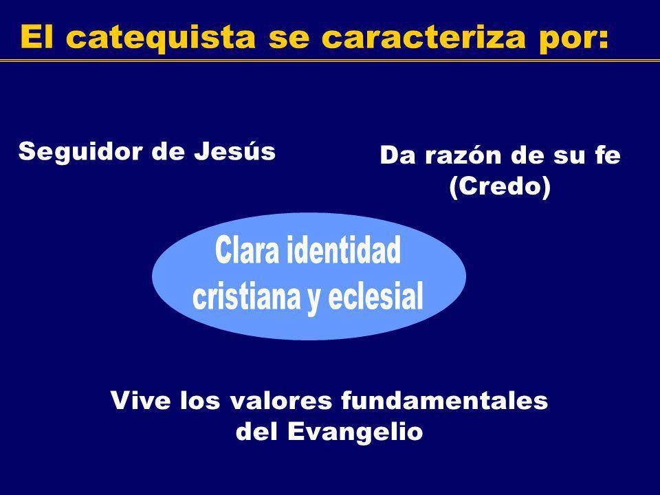El catequista se caracteriza por: Seguidor de Jesús Vive los valores fundamentales del Evangelio Da razón de su fe (Credo)