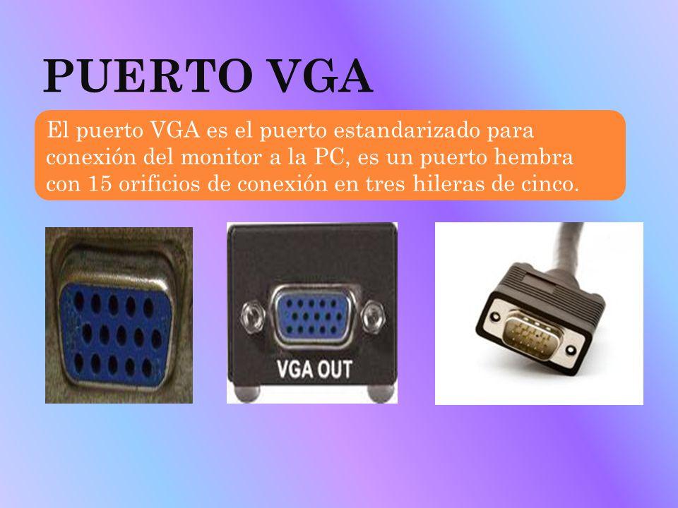 PUERTO VGA El puerto VGA es el puerto estandarizado para conexión del monitor a la PC, es un puerto hembra con 15 orificios de conexión en tres hilera