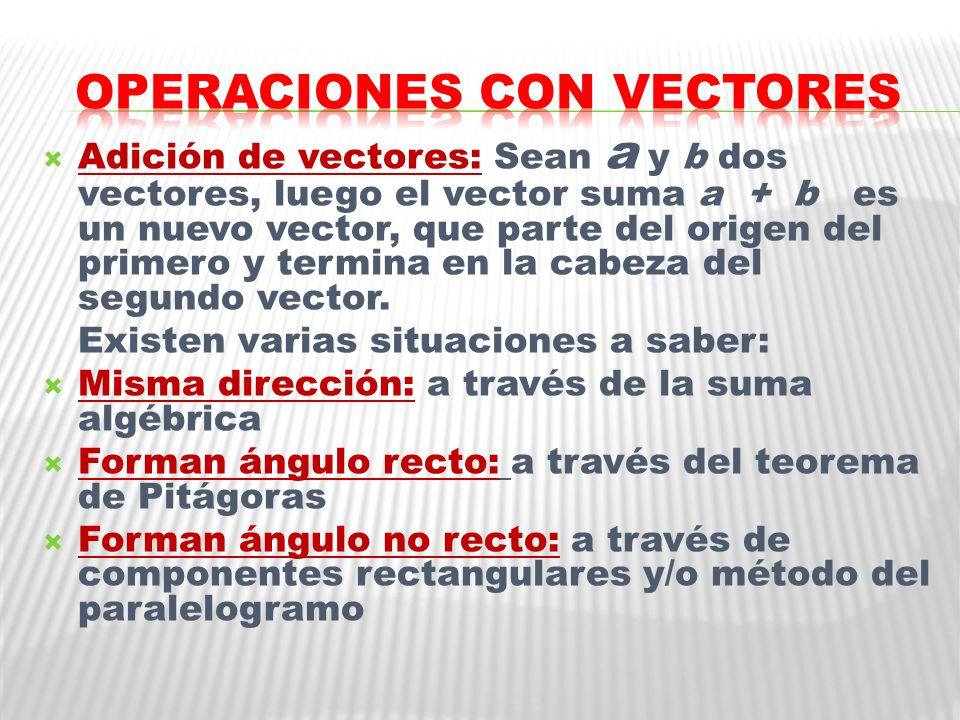 Adición de vectores: Sean a y b dos vectores, luego el vector suma a + b es un nuevo vector, que parte del origen del primero y termina en la cabeza del segundo vector.