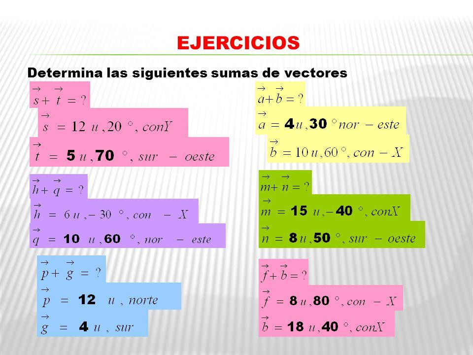 EJERCICIOS y Determina las siguientes sumas de vectores