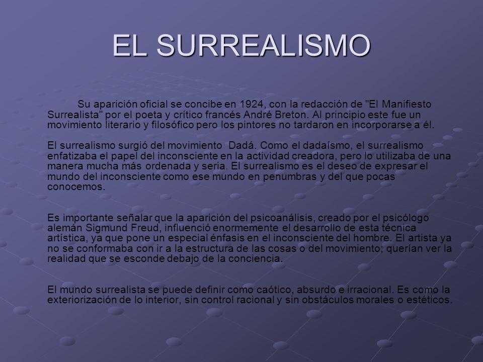 EL SURREALISMO Su aparición oficial se concibe en 1924, con la redacción de El Manifiesto Surrealista por el poeta y crítico francés André Breton.