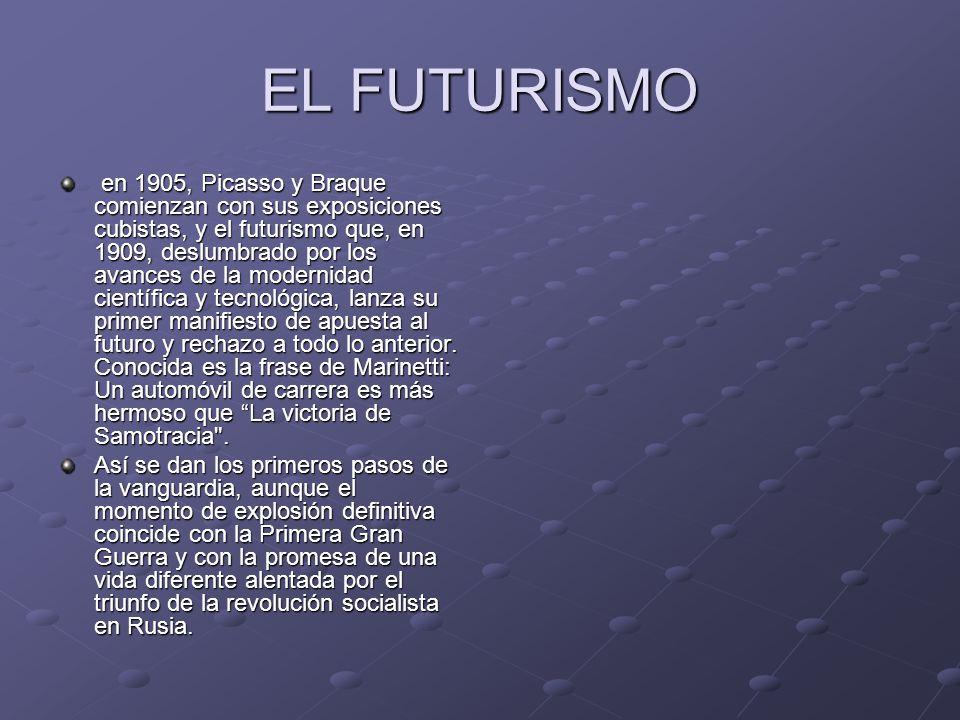 EL FUTURISMO en 1905, Picasso y Braque comienzan con sus exposiciones cubistas, y el futurismo que, en 1909, deslumbrado por los avances de la moderni