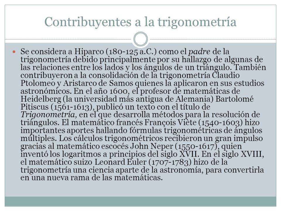 Contribuyentes a la trigonometría Se considera a Hiparco (180-125 a.C.) como el padre de la trigonometría debido principalmente por su hallazgo de alg
