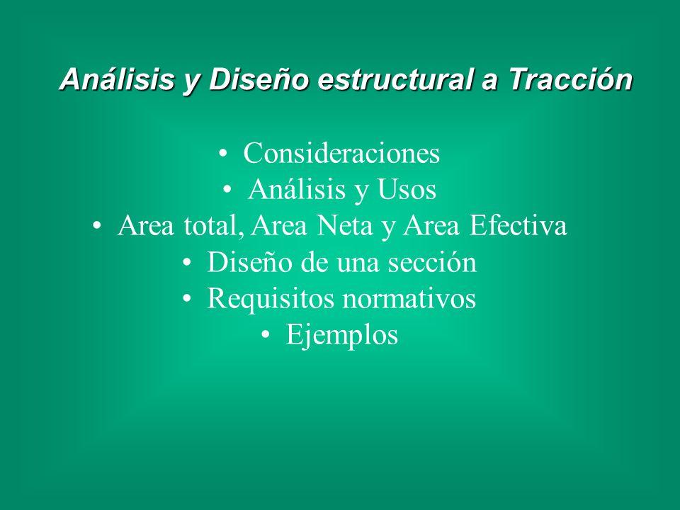 Consideraciones Análisis y Usos Area total, Area Neta y Area Efectiva Diseño de una sección Requisitos normativos Ejemplos Análisis y Diseño estructur