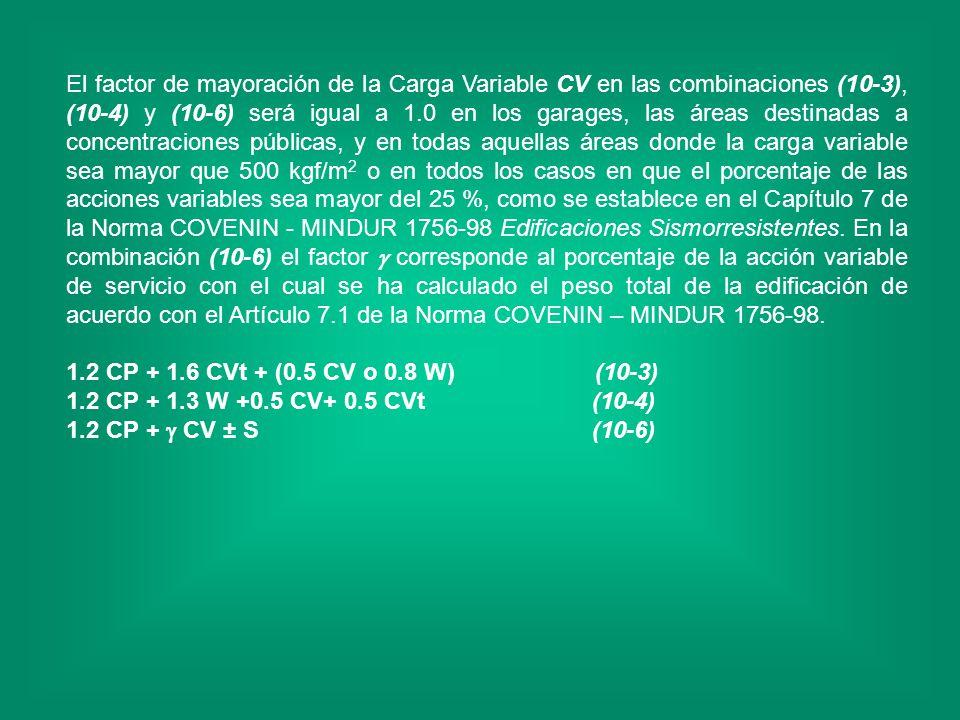 El factor de mayoración de la Carga Variable CV en las combinaciones (10-3), (10-4) y (10-6) será igual a 1.0 en los garages, las áreas destinadas a c