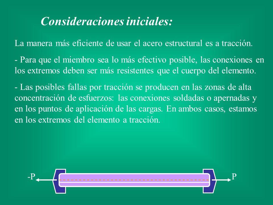 La manera más eficiente de usar el acero estructural es a tracción. - Para que el miembro sea lo más efectivo posible, las conexiones en los extremos