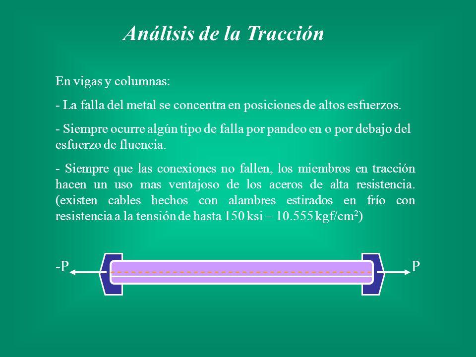 Análisis de la Tracción En vigas y columnas: - La falla del metal se concentra en posiciones de altos esfuerzos. - Siempre ocurre algún tipo de falla