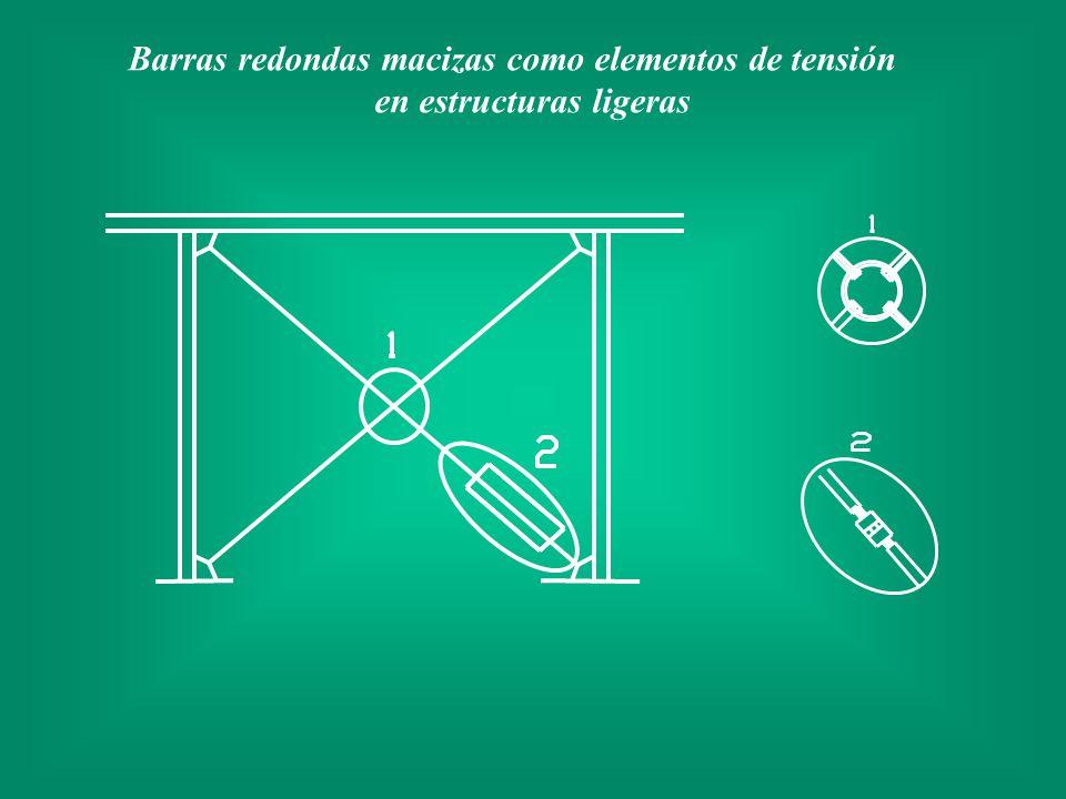 Barras redondas macizas como elementos de tensión en estructuras ligeras