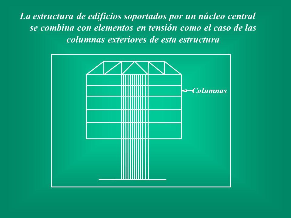 La estructura de edificios soportados por un núcleo central se combina con elementos en tensión como el caso de las columnas exteriores de esta estruc
