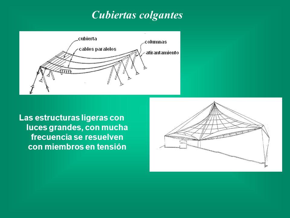 Las estructuras ligeras con luces grandes, con mucha frecuencia se resuelven con miembros en tensión Cubiertas colgantes
