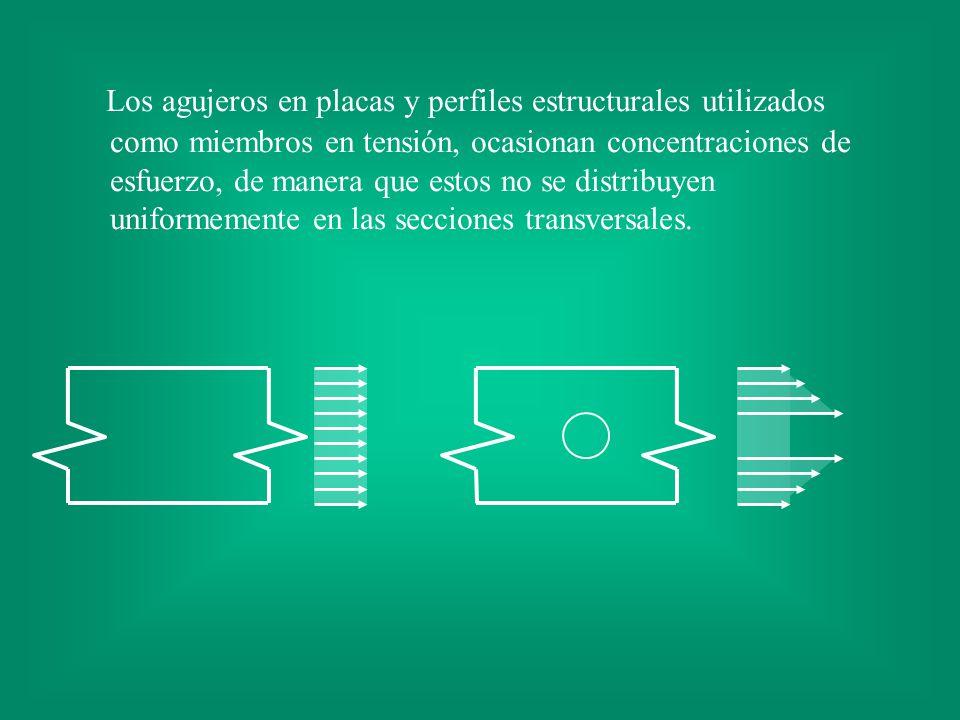 Los agujeros en placas y perfiles estructurales utilizados como miembros en tensión, ocasionan concentraciones de esfuerzo, de manera que estos no se