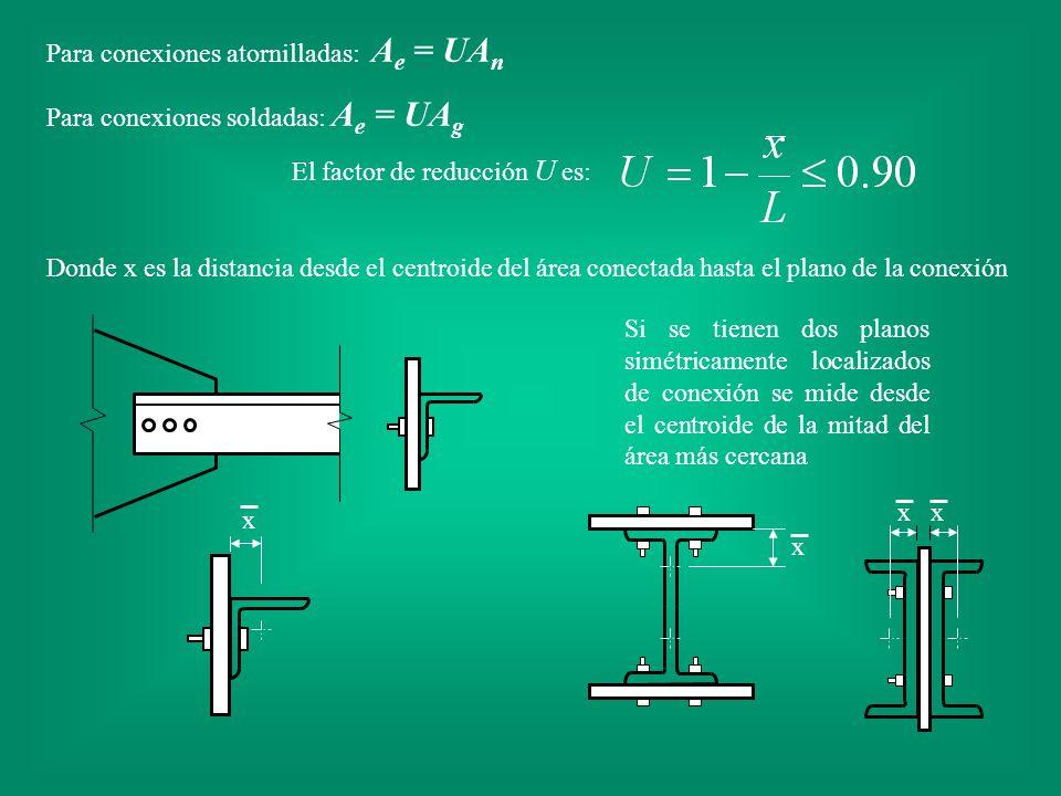 Para conexiones atornilladas: A e = UA n Para conexiones soldadas: A e = UA g El factor de reducción U es: Donde x es la distancia desde el centroide
