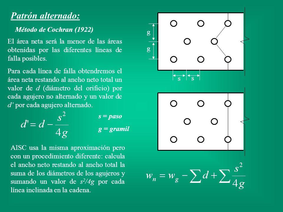 Método de Cochran (1922) El área neta será la menor de las áreas obtenidas por las diferentes líneas de falla posibles. Para cada línea de falla obten