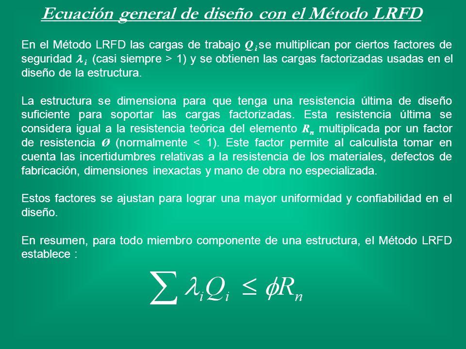 Ecuación general de diseño con el Método LRFD En el Método LRFD las cargas de trabajo Q i se multiplican por ciertos factores de seguridad i (casi sie