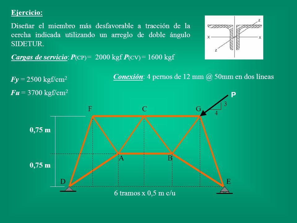 C B F P 6 tramos x 0,5 m c/u A G ED 0,75 m 4 3 Ejercicio: Diseñar el miembro más desfavorable a tracción de la cercha indicada utilizando un arreglo d
