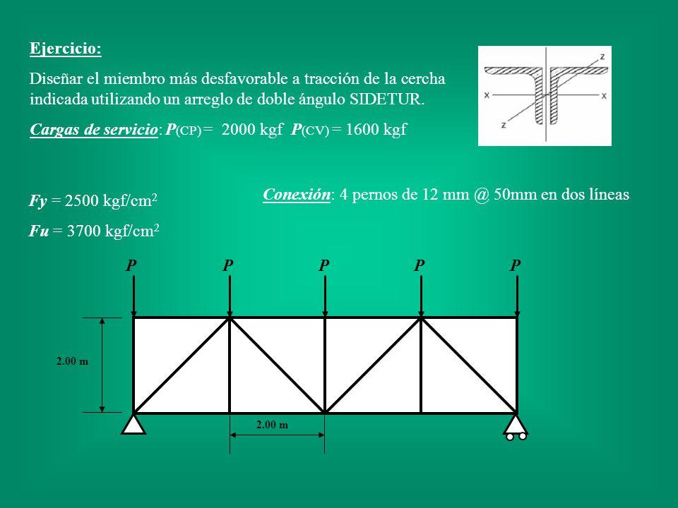 Ejercicio: Diseñar el miembro más desfavorable a tracción de la cercha indicada utilizando un arreglo de doble ángulo SIDETUR. Cargas de servicio:P (C