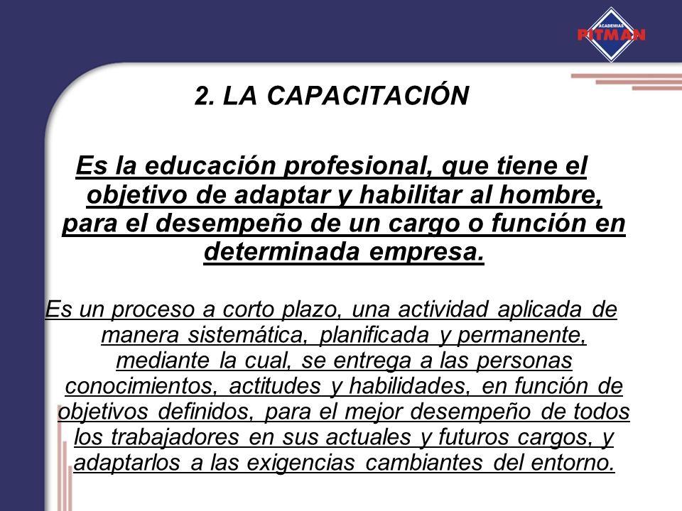2. LA CAPACITACIÓN Es la educación profesional, que tiene el objetivo de adaptar y habilitar al hombre, para el desempeño de un cargo o función en det