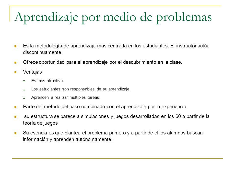 Aprendizaje por medio de problemas Es la metodología de aprendizaje mas centrada en los estudiantes. El instructor actúa discontinuamente. Ofrece opor