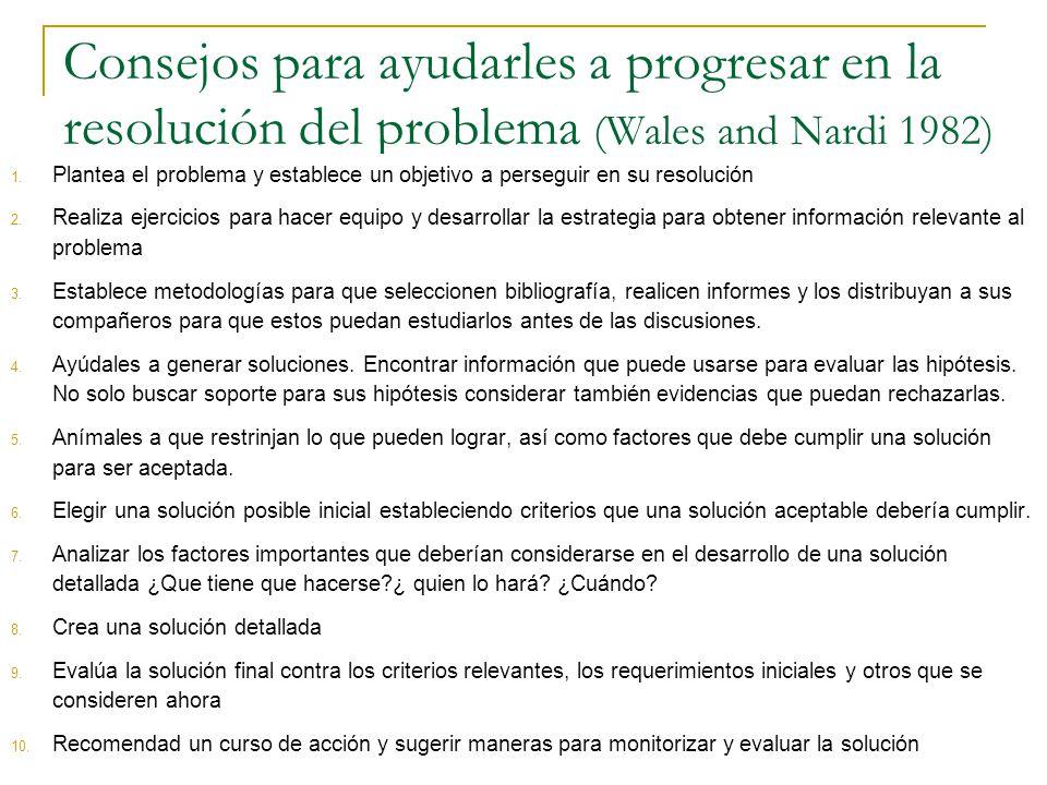 Consejos para ayudarles a progresar en la resolución del problema (Wales and Nardi 1982) 1. Plantea el problema y establece un objetivo a perseguir en