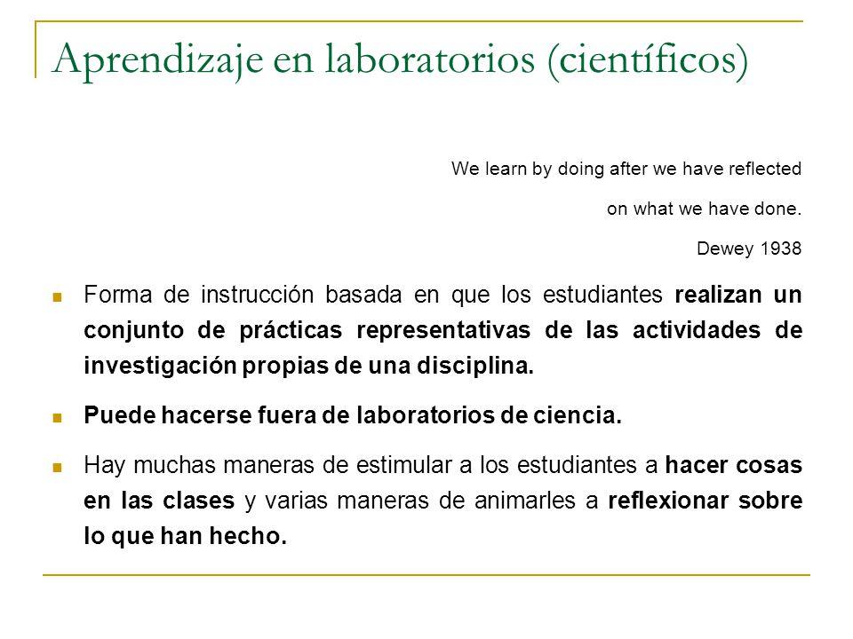 Aprendizaje en laboratorios (científicos) We learn by doing after we have reflected on what we have done. Dewey 1938 Forma de instrucción basada en qu