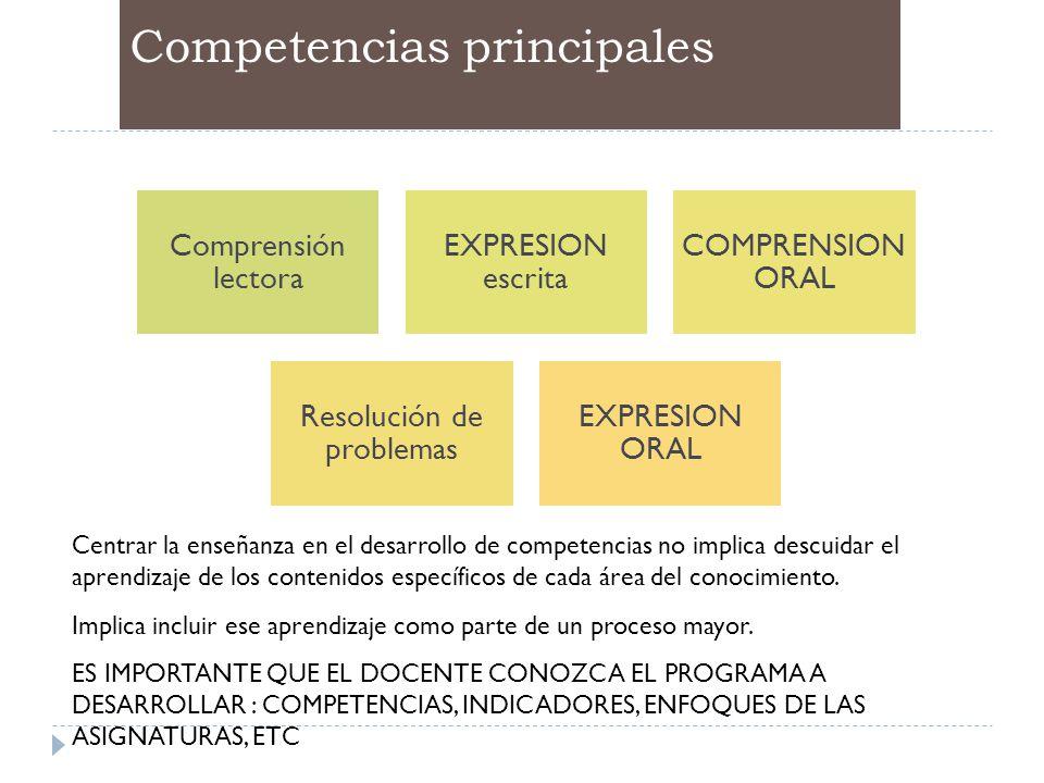 Competencias principales Comprensión lectora EXPRESION escrita COMPRENSION ORAL Resolución de problemas EXPRESION ORAL Centrar la enseñanza en el desa