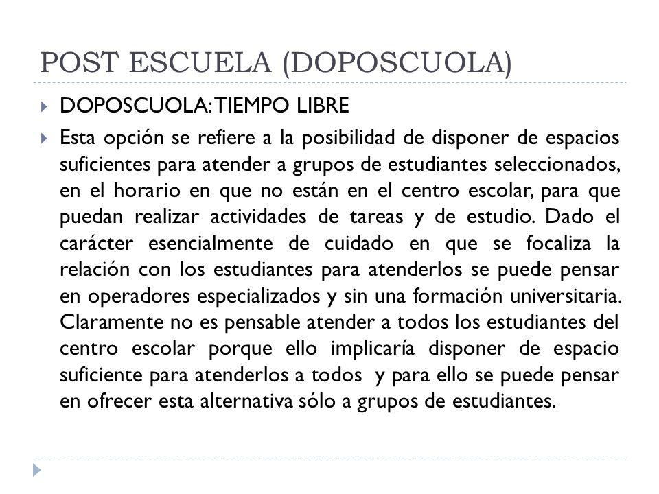 POST ESCUELA (DOPOSCUOLA) DOPOSCUOLA: TIEMPO LIBRE Esta opción se refiere a la posibilidad de disponer de espacios suficientes para atender a grupos d