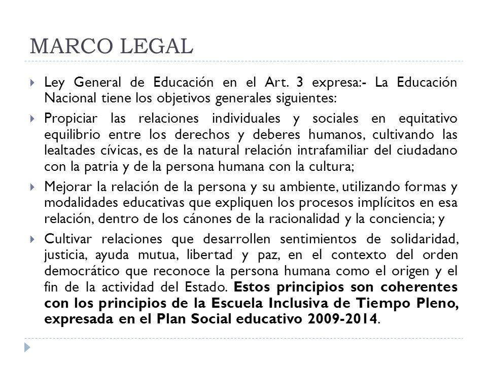 MARCO LEGAL Ley General de Educación en el Art. 3 expresa:- La Educación Nacional tiene los objetivos generales siguientes: Propiciar las relaciones i