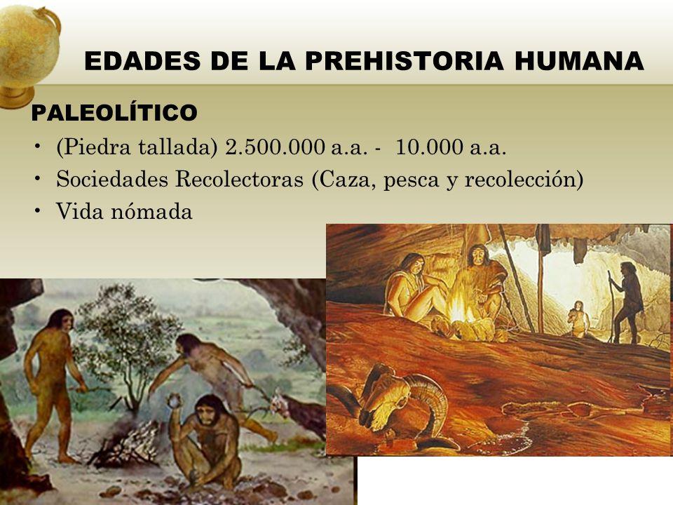 NEOLÍTICO (10.000 a.a.– 7.000 a.a) Revolución Agrícola Sociedades agrícolas Vida sedentaria.