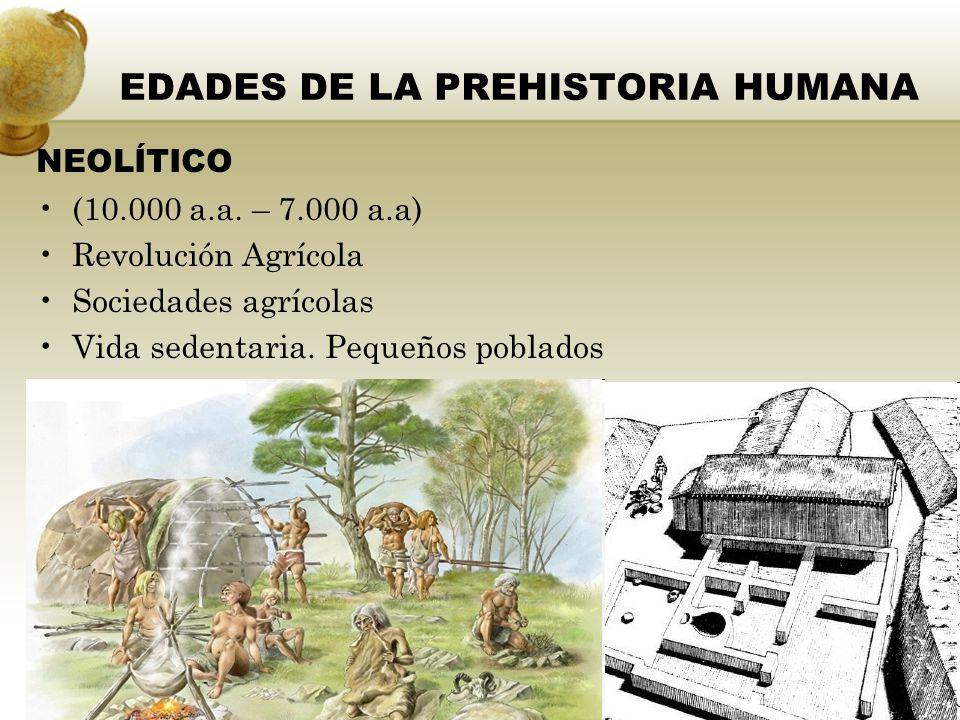 EDAD DE LOS METALES (7.000 a.a - 5.500 a.a.) Metalurgia y avances tecnológicos Excedentes alimenticios Sociedades complejas Vida sedentaria en grandes poblados EDADES DE LA PREHISTORIA HUMANA